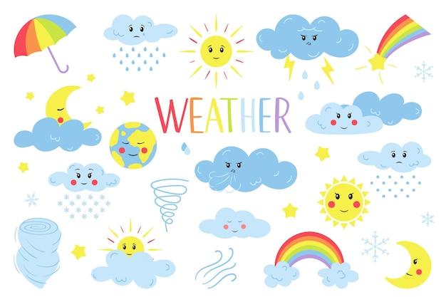 Diseñe elementos del clima en colores pastel. nubes, sol, lluvia, paraguas, arco iris. aislado en blanco