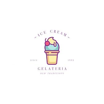Diseñe el logotipo o el emblema colorido de la plantilla - helado, helado. icono de helado logotipo en moda estilo lineal aislado sobre fondo blanco.