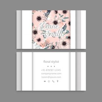 Diseñe la tarjeta de visita de la plantilla con la textura y la flor coloridas, hoja, hierba.