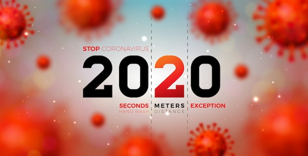 Diseño de 2020 coronavirus stop con la caída de la célula del virus covid-19 sobre fondo claro. ilustración de brote de virus corona 2019-ncov. quedarse en casa, mantenerse seguro, lavarse las manos y distanciarse.