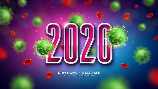 Diseño de 2020 coronavirus stop con la caída de la célula del virus covid-19 sobre fondo oscuro. ilustración de brote de virus corona 2019-ncov. quedarse en casa, mantenerse seguro, lavarse las manos y distanciarse.