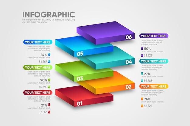 Diseño en 3d capas de bloques infografía