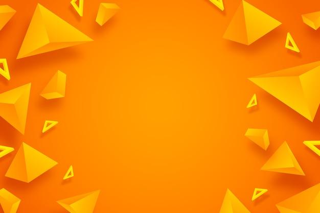 Diseño 3d de fondo naranja triángulo
