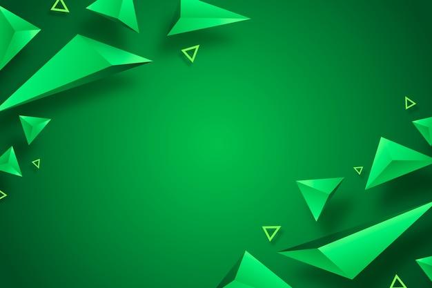 Diseño 3d del fondo verde del triángulo