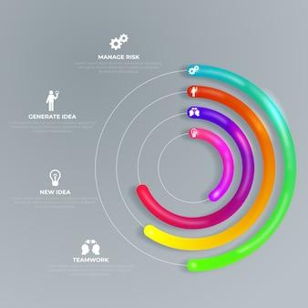 Diseño 3d infografía brillante