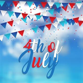 Diseño del 4 de julio con confeti y banderines en el cielo azul.