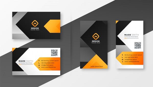 Diseño abstracto anaranjado de la tarjeta de visita del tema