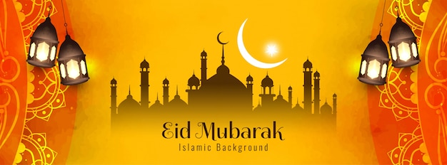 Diseño abstracto de la bandera amarilla del festival eid mubarak