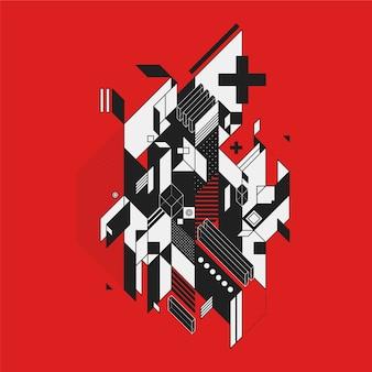 Diseño abstracto en blanco y negro sobre fondo rojo