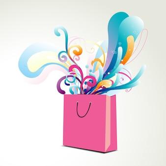 Diseño abstracto de bolsa de compra
