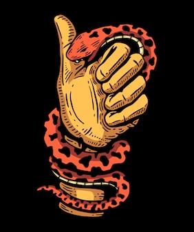 Diseño abstracto de la camiseta y de la ilustración de la mano que muerde de la serpiente