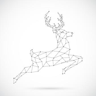 Diseño abstracto de ciervos poligonales.