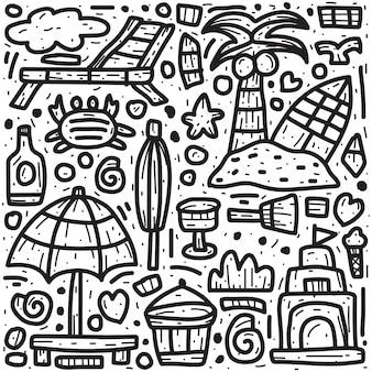 Diseño abstracto del doodle de la playa