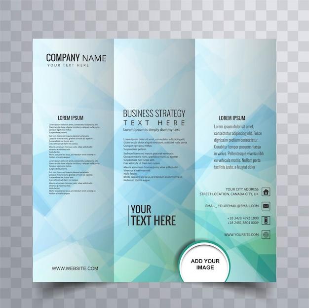 Diseño abstracto de folleto polygonal