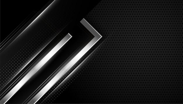 Diseño abstracto de fondo negro y plateado