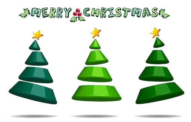 Diseño abstracto de la forma del árbol de navidad 3d decorativo