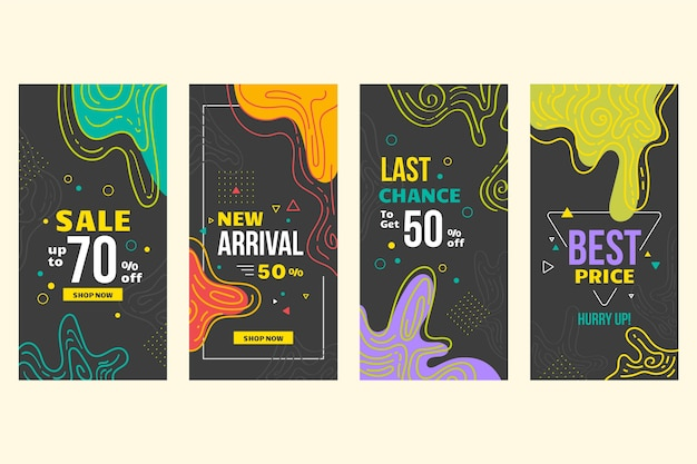 Diseño abstracto para historias de venta de instagram