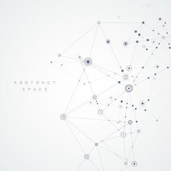 Diseño abstracto con líneas compuestas y puntos.
