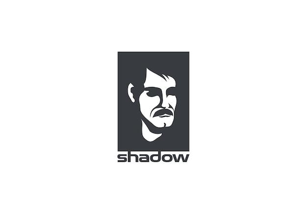 Diseño abstracto del logotipo de la cara del hombre. estilo de espacio negativo.