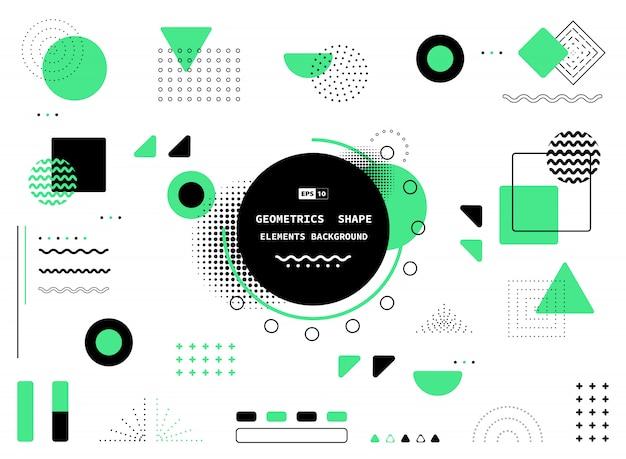 Diseño abstracto de memphis verde y negro de fondo decorativo del elemento de las ilustraciones.