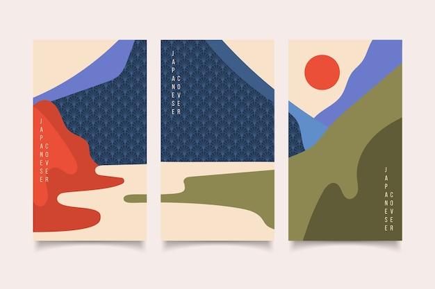 Diseño abstracto minimalista colección de portada japonesa