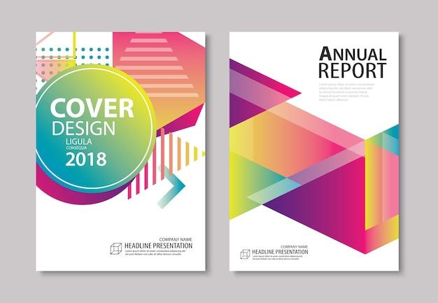 Diseño abstracto moderno de cubierta y folleto geométricos