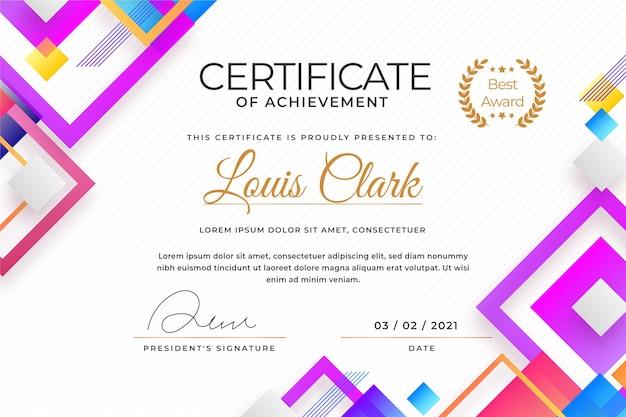 Diseño abstracto moderno de plantilla de certificado