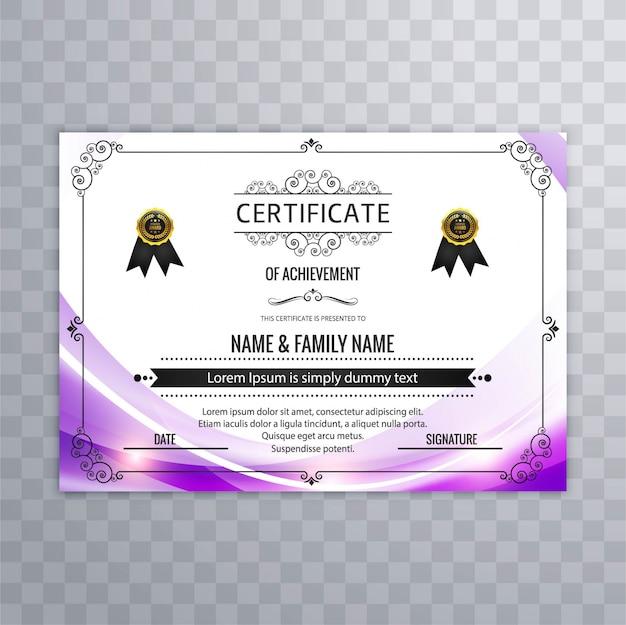 Diseño abstracto morado de certificado