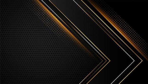 Diseño abstracto negro y dorado brillante