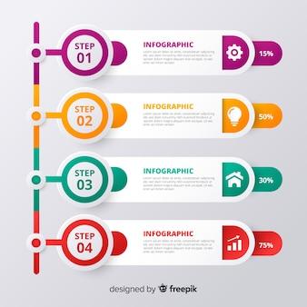 Diseño abstracto de pasos infográficos