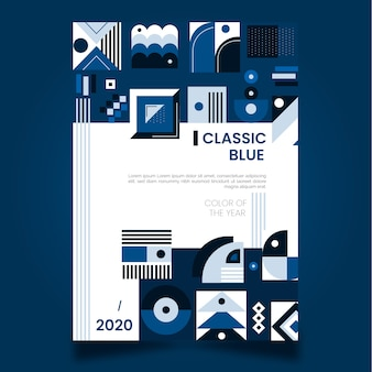 Diseño abstracto de plantilla de cartel azul clásico