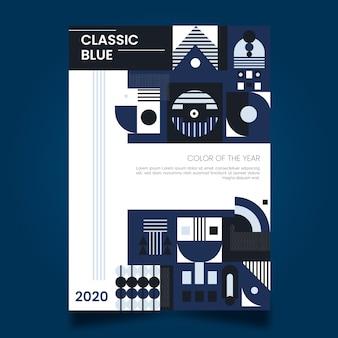 Diseño abstracto de plantilla de volante azul clásico
