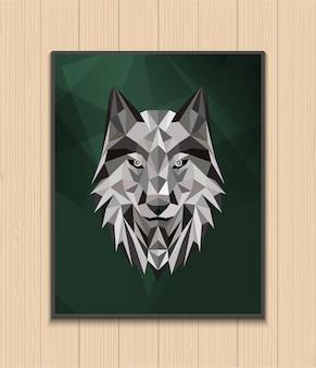 Diseño abstracto poligonal cabeza de lobo