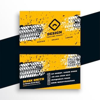 Diseño abstracto de la tarjeta de visita del estilo de la pista del neumático