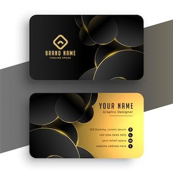 Diseño abstracto de tarjeta de visita negra y dorada