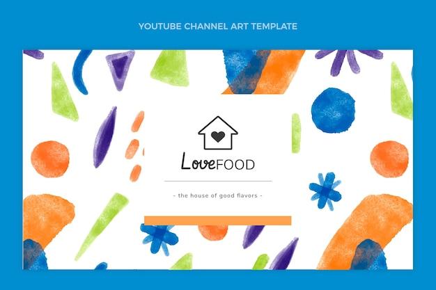 Diseño de acuarela del arte del canal de youtube de comida.
