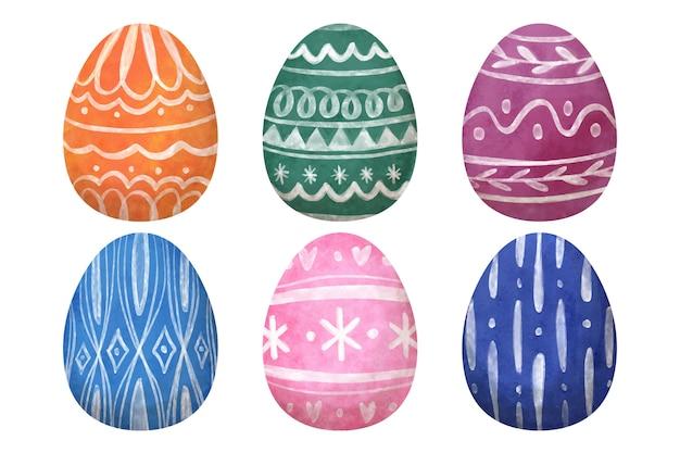 Diseño de acuarela de la colección de huevos del día de pascua
