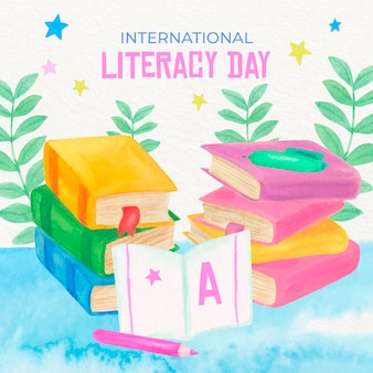 Diseño de acuarela día internacional de alfabetización