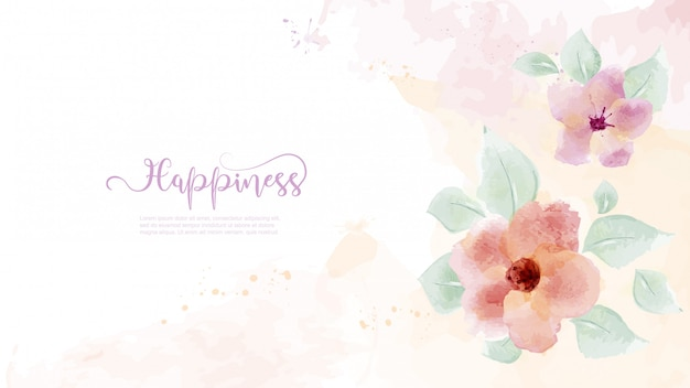 Diseño acuarela dibujado a mano con flores y hojas