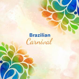 Diseño de acuarela de fondo de carnaval brasileño
