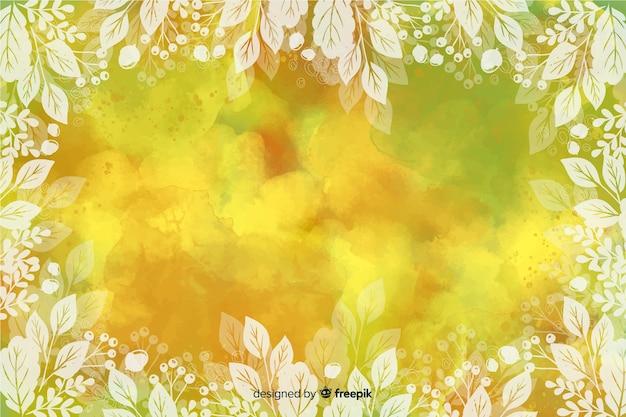 Diseño de acuarela de fondo de hojas de otoño