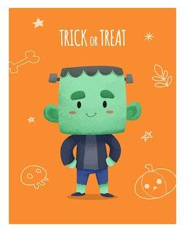 Diseño de acuarela halloween con personaje