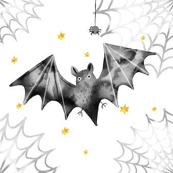 Diseño de acuarela murciélago de halloween