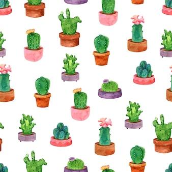 Diseño de acuarela de patrón de cactus