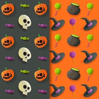 Diseño de acuarela de patrones de halloween