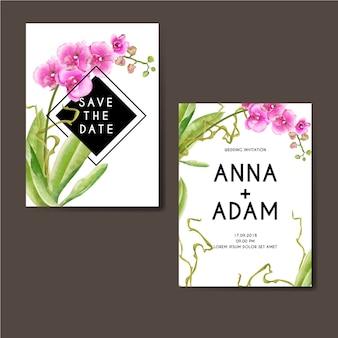 Diseño de acuarela rosa de la orquídea