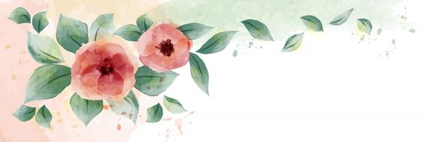 Diseño acuarela con rosas y hojas.