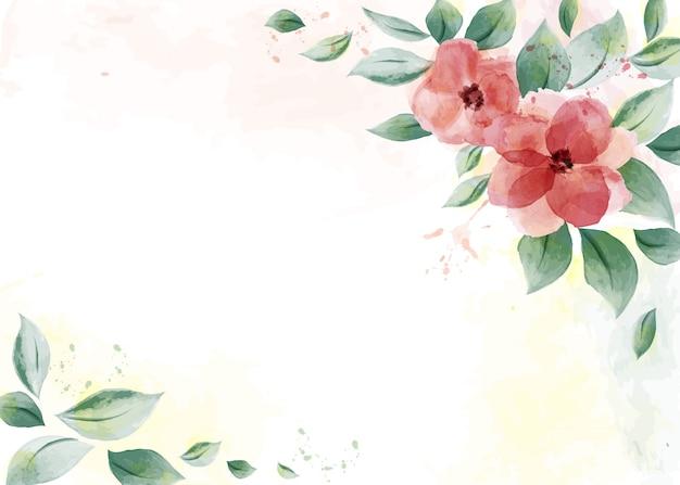 Diseño de acuarela con rosas rojas y hojas