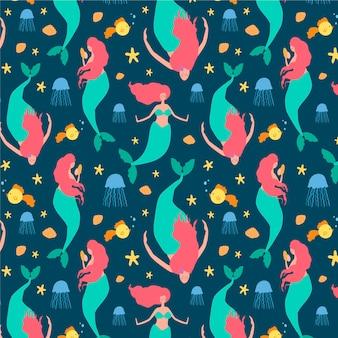 Diseño acuático con patrón de sirena