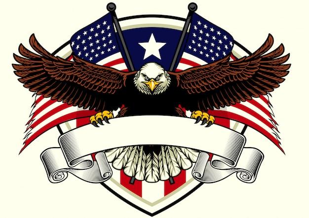 Diseño de águila calva sosteniendo la cinta en blanco con la bandera de estados unidos